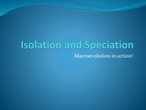 Isolation and Speciation - 2012-13