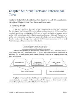 Ch 6a. Strict and Intentional Torts