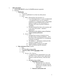 torts 1 outline Torts outline intentional torts intent definition - intent is formed if an action is purposeful knowing test: substantial certainty subjective test – actual .