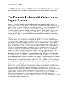 The Economic Problem with Online Learner Support Systems