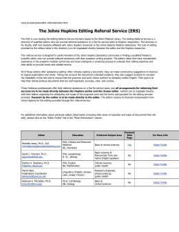 The Johns Hopkins Editing Referral Service (ERS)