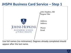 JHSPH Business Card Service * Step 1