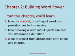 Chapter 2: Building Word Power