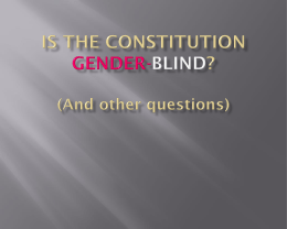 The Constitution and Gender