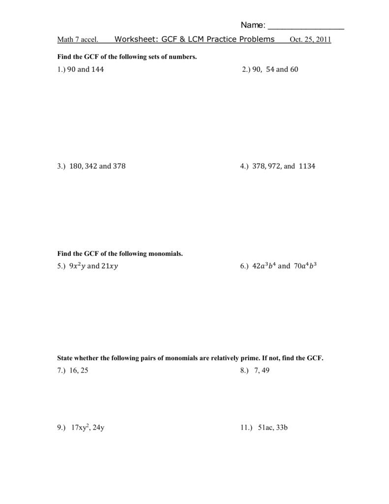 Worksheet Gcf Word Problems