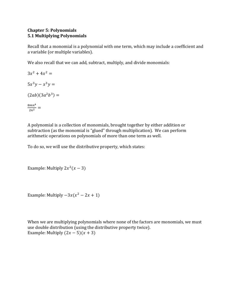Worksheet Multiplying Monomials And Polynomials Worksheet