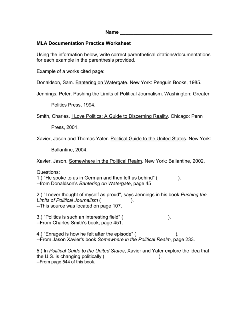 Mla Documentation Practice Worksheet