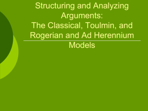 Structuring Arguments: The Classical, Toulmin, and Rogerian Models