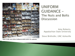 What is the Uniform Guidance? - Appalachian State University