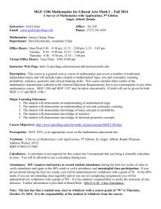 Mac 1105 Syllabus Florida Gulf Coast University