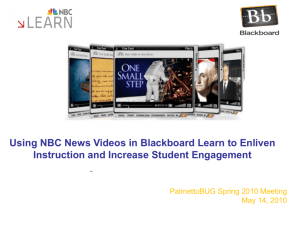 Using NBC News Videos in Blackboard Learn to Enliven Instruction