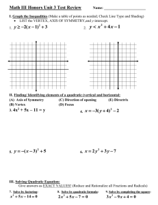 Honors Algebra 2 Unit 3 Test Review