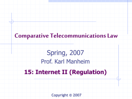 Comparative Telecommunications Law