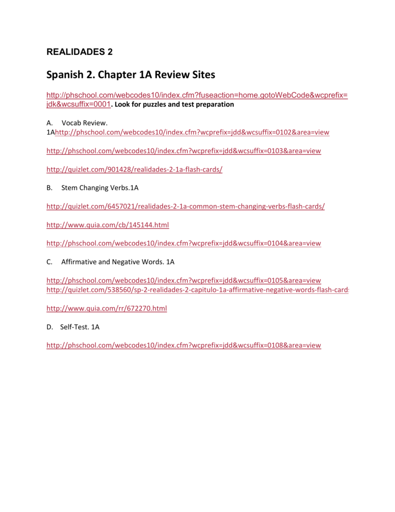Spanish 2  Chapter 1B Review Sites
