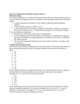 Electron configuration worksheet doc