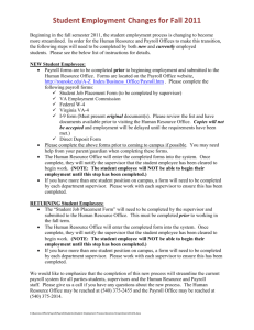 Student Employment Changes for Fall 2011