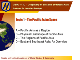 Topic 1 The Pacific Asian Space