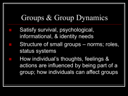 Group Dynamics I. The Nature of Groups