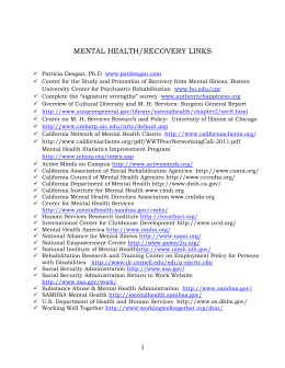 Mental Health/Recovery Links