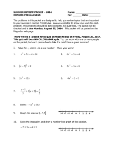 HONORS PRECALCULUS Summer Packet