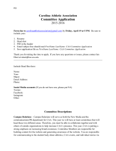 Carolina Athletic Association Committee Application
