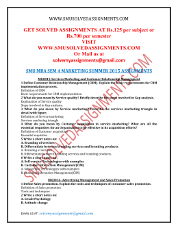 smu mba sem 1 summer 2015 View notes - smu mba sem 1 spring 2017 assignments from mba 0024 at sikkim manipal university get solved assignments at rs125 per subject or rs700 per.
