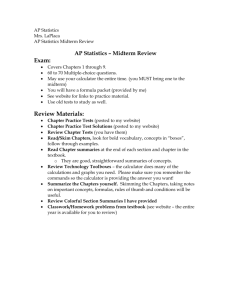 AP Statistics – Midterm Review Exam
