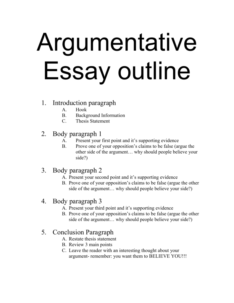 Argumentative Essay Notes
