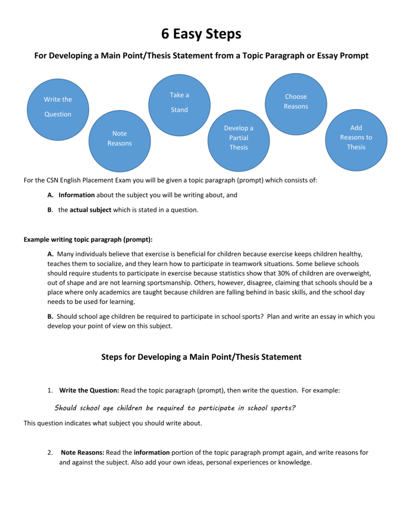 steps for developing a main pointthesis statement  easy steps for developing a main pointthesis statement from a topic  paragraph or essay prompt take a write the choose reasons stand question  note reasons