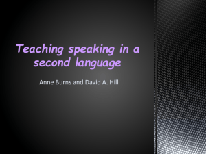 Teaching speaking in a second language