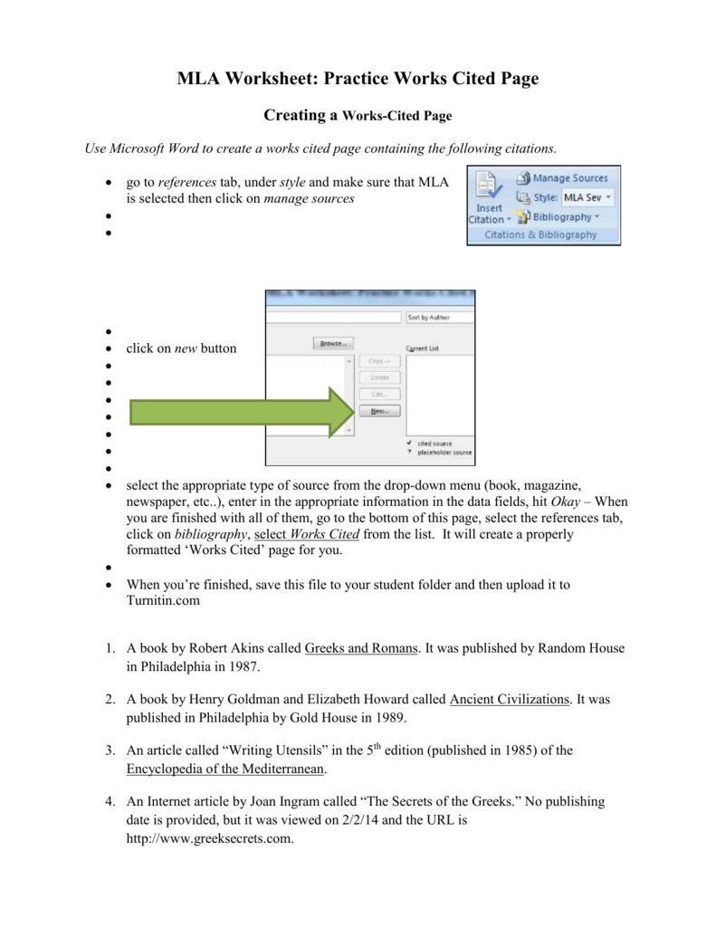 MLA Worksheet 2 – Mla Citation Worksheet