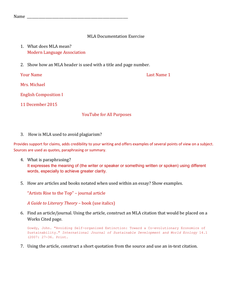 MLA worksheet practice ANSWERS – Mla Works Cited Worksheet