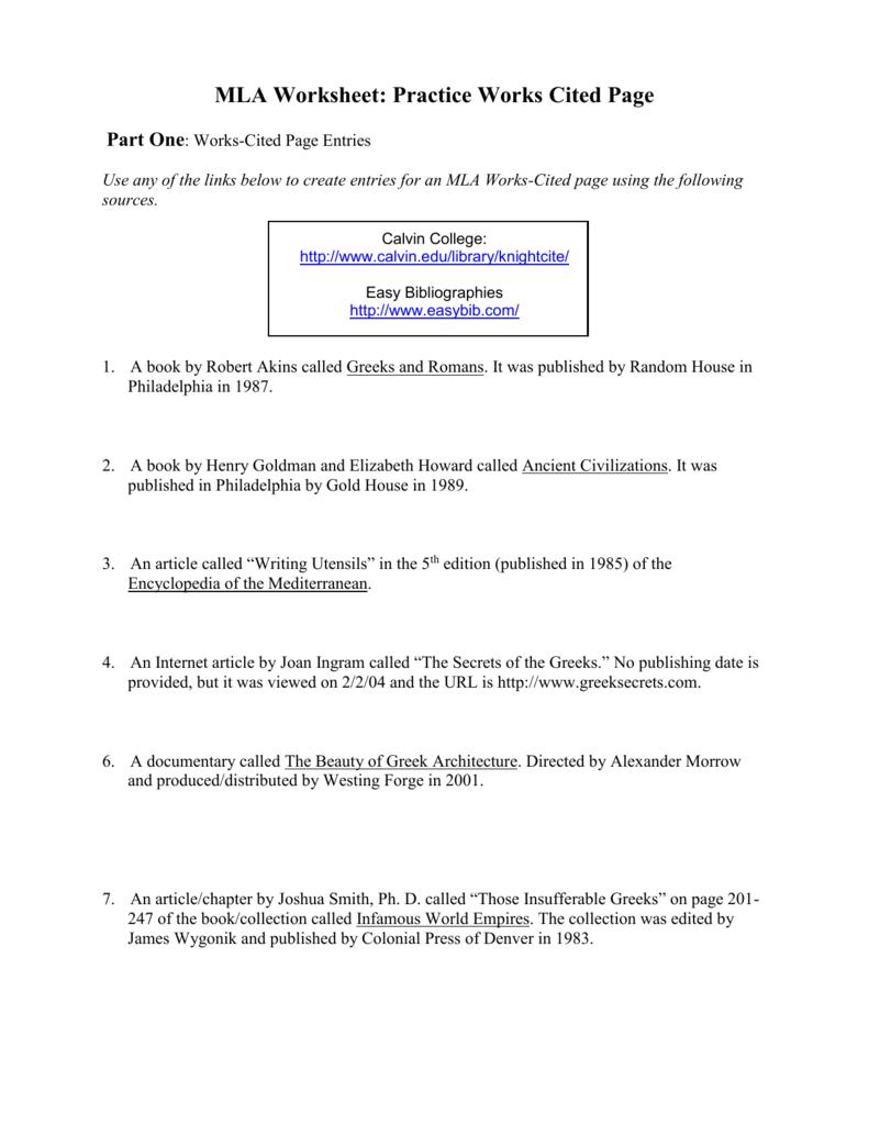 Worksheets Mla Citation Practice Worksheet mla worksheet practice works cited page answers virma moordspel co answers
