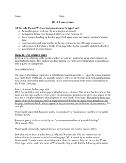 MLA Citation Worksheet