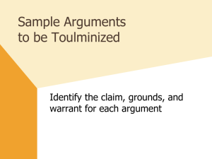 Sample Toulmin Arguments