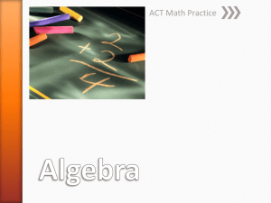 Numerical Skills and Pre-Algebra