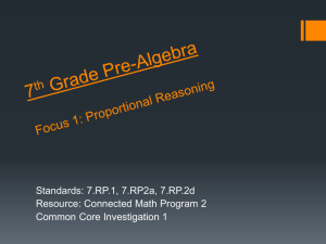 7th Grade Pre-Algebra Focus 1: Proportional Reasoning