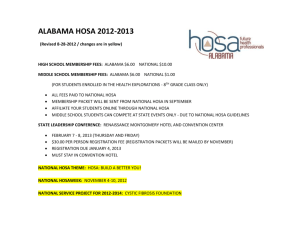 HOSA Events Offered 2013 - Career and Technical Education