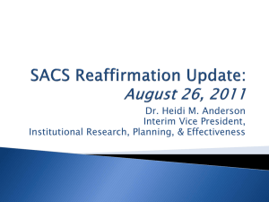 Introduction to the SACS Re-Affirmation Process