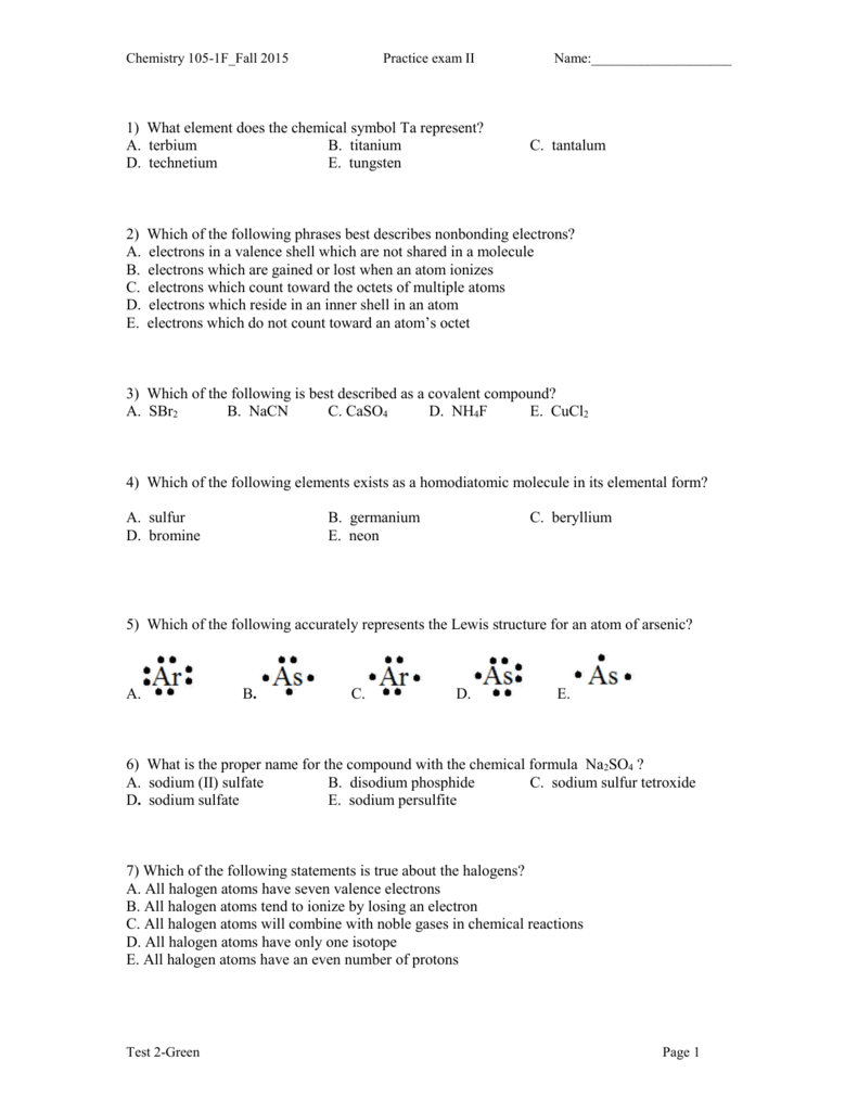 Chemistry 100 1f Chemical Problem Solving