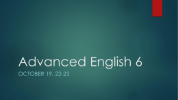Advanced English 6 - Mrs. Fritzinger's English