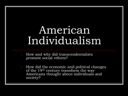 American Individualism and Utopian Attempts