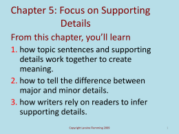 Chapter 5: The Function of Supporting Details