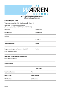 APPLICATION FORM 2015/2016 (External