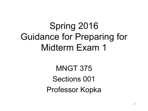 Guidance for Preparing for Midterm Exam I