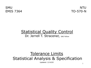 Statistical Analysis & Specification