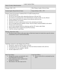 Leader Analysis Sheet on Nikita Khrushchev