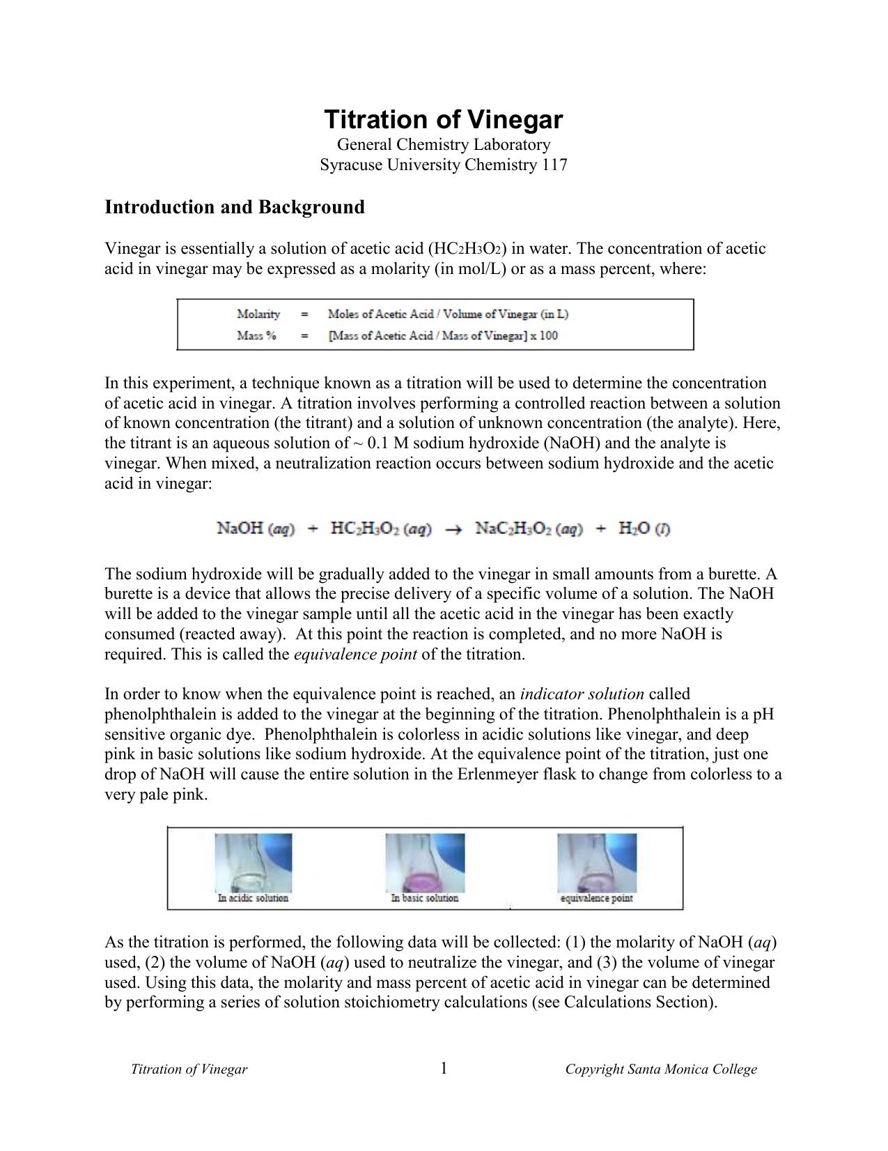 tritation of acidic acid with naoh