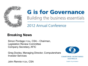 Breaking News - Governance Institute of Australia