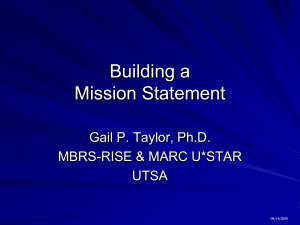 Building a Mission Statement